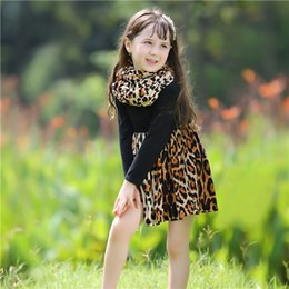 BaBy girl leopard tutus online shopping - Pettigirl New Girls Princess Dresses With Neckerchief Baby Girl Clothing Dress For Autumnl Kids Clothing GD80727 F
