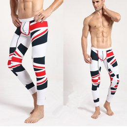 Sous-vêtements En Gros Au Drapeau Pas Cher-Softed Long Johns Pantalon thermique en gros-Men Cotton UK Leggings Pantalon Drapeau Imprimé Sous-vêtements