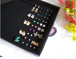 Ring Case Holder Displays Canada - Jewelry Display Holder Box Fashion Earrings Ring Organizer Show Case New Black 100 Slots Storage Ear Pin Display Boxes
