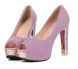 China glitter silver wedding shoes peep toe ankle strappy fashion ladies comfortable thick heel prom groom shoes 3 colors size 34 to 39 suppliers