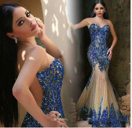 Nude Tulle Sheer Beaded Dress Canada - 2018 Luxury Dubai Saudi Arabic Evening Dresses Sexy Sheer Neck Royal Blue Beaded Crystal Mermaid Prom Dresses Party Evening Gowns