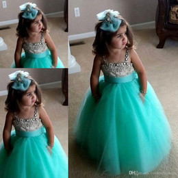 China New pretty mint a line flower girls dresses spaghetti straps ball gown full length lovely crystal sleeveless party pageant dress BO8337 cheap line wedding dresses tulle spaghetti straps suppliers