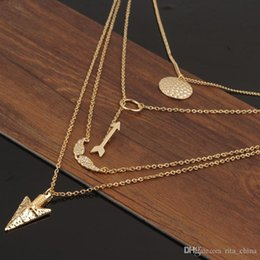 Gold plated anGel chain online shopping - Hot Fashion Woman angel wing necklace Gold plated fatima hand layer chain bar Necklace B Necklaces Jewelry