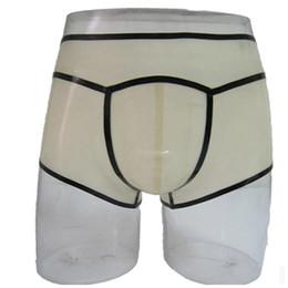 Vente en gros Sexy nouveau design hommes Transparent À La Main épissé Latex Fétiche Exotique mâle Sous-vêtements cekc zentai Slips Shorts