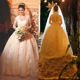 $enCountryForm.capitalKeyWord Canada - Sweetheart Neck Long Sleeve Ball Gown Wedding Dresses Lace Appliques Tulle Satin Button up Back Fashion Bridal Wedding Gowns