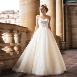 wedding dress sweetheart open Australia - Soft Tulle Wedding Dresses 2019 Cheap Sweetheart A-Line Lace Top vestido de noiva Open Back with Lace up Bridal Dresses