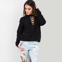 Sexy european clubwear online shopping - Fashion Women Strappy Pullover Knitwear Sweater Long Sleeve V Neck Casual Knit Top Spring Autumn Outwear Sexy Clubwear