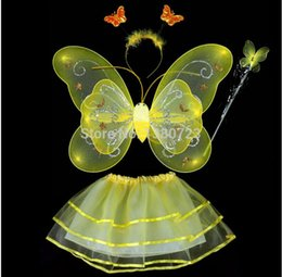 $enCountryForm.capitalKeyWord Canada - Freeshipping 500sets lot Carnival costumes wholesale 6 colors mix 4pcs in one set Single layer Fairy Wings Set with Tutu