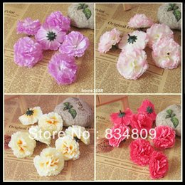 wholesale fake flowers shipped free Australia - Artificial Flowers Carnation Flowers Diy Fake Flower Head Brooch Headdress Silk Flower Wedding Home Decor Free Shipping