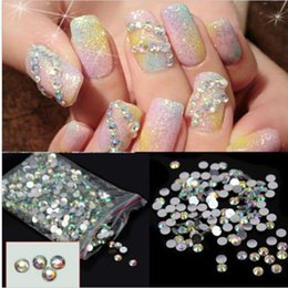 Arte Al Por Mayor Del Clavo De La Resina Baratos-Al por mayor-1000pcs CALIENTE Nail Art Stickers Flatback Crystal AB 14 Facetas Resina Ronda Rhinestone Tips Beads Makeup Nail DecorationTools 4mm