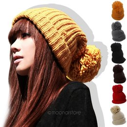 Korean Beanies Canada - Wholesale-Korean Style Lovely Knitted Wool Crochet Unisex Headwear Warm Winter Beanie Ball 6 Colors Hat Cap for Couples Lovers M*HM325#S12