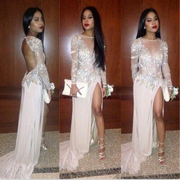 White Chiffon Fabric Canada - Sexy Backless 2018 Evening Dresses Sequins Beads Long Sleeves Prom Gowns With Beading Crew Neck Split Chiffon Fabric