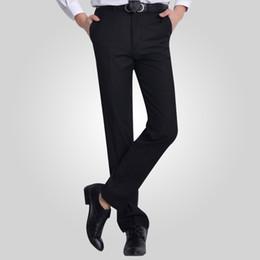 ff31a5b009e Venta al por mayor-verano sarga de algodón plano oficina trabajo desgaste  caballero negro hombres pantalones de traje para hombre de negocios de  carga ...