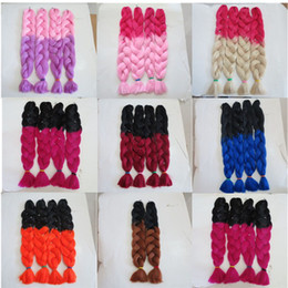 pink kanekalon braiding hair Canada - Kanekalon Jumbo Braid Hair Senegalese Twist 82inch 165grams Red&Pink Ombre two tone color xpression synthetic Braiding hair extensions