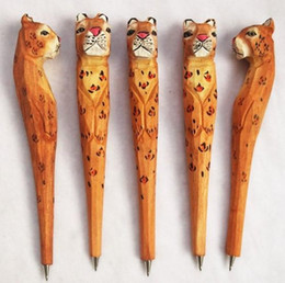 $enCountryForm.capitalKeyWord Australia - 50pcs lot Cute Animal carving creative ball point pen shape carving wood 3 D pens wood handmade sculpture student's gifts free shipping