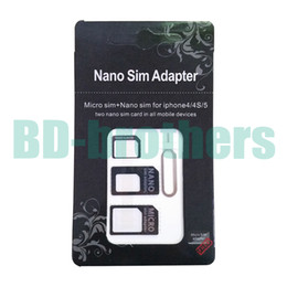 Wholesale Black in Nano Micro SIM Card Adapter Adaptor with Eject Pin Key for iPhone G S C Samsung G plus sets