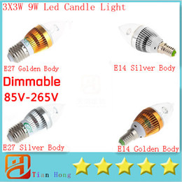 Dimmable E14 Energy Saving Bulb Canada - Candle Light E14 E27 E12 Led Candle Lamp 3X3W 9W Dimmable Led lamp 85V-265V Led Bulbs Energy Saving