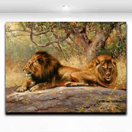 Lion Pictures Print Canada - Lion Africa Wild Animal Wall Paitning Printed on Canvas Mural Art Picture for Home Living Room Wall Deocr