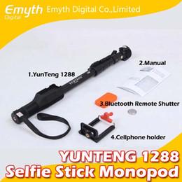 Discount carbon fiber selfie stick - YUNTENG 1288 Aluminum alloy mobil phone Monopod Selfie Stick with Bluetooth Remote Shutter Cellphone holder for iPhone I