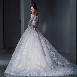 vintage lace wedding dresses 2016 long sleeve ball gowns russian designer princess vestido de boiva robe de mariee bridal gowns