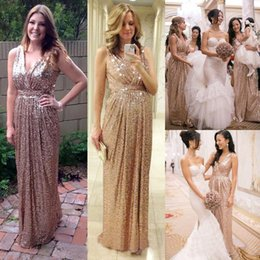 Barato Longos Vestidos De Dama De Honra Quentes-Bling Rose Gold V Neck Sequined Maid of Honor Vestidos Backless Plus Size Long Beach Bridesmaid Bridal Party Evening Gowns 2015 Custom Hot