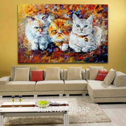 cute paintings NZ - Three Cute Kittens Palette Knife Oil Painting Animal Picture Canvas Prints Mural Art for Home Living Bedroom Wall Decor