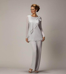 Discount blue dress pants for wedding party - 2018 Elegant Plus Size Silver Mother's Pants Suit For Mother of The Bride Groom Beaded Chiffon Wedding Party Evenin