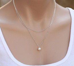 $enCountryForm.capitalKeyWord NZ - Boho Style Multi Layer Womens Double Silver Gold Plated Chains Pearl Charm Pendant Necklace Cheap Jewelry FE