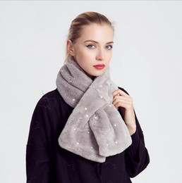 Jersey cotton scarf online shopping - Winter Scarf Brand Foulard Women Wrap Designer Echarpe Enfant Warm Fur Collar Solid Color Small Cotton Scarf Jersey Hijab Pearl