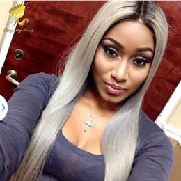 $enCountryForm.capitalKeyWord Canada - Brazilian glueless ombre grey lace front wig two tone grey human hair full lace wigs ombre full lace human hair wigs