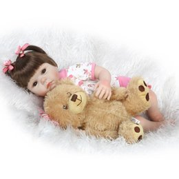 Discount inflatable girls toys - Wholesale- 52cm Silicone New Reborn Baby Dolls Realistic Girl Fake Babies Kids bear doll Toys by NPK Collection bebe bon