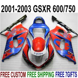 Kit Gsxr K1 NZ - High quality fairing kit for SUZUKI GSXR600 GSXR750 2001 2002 2003 K1 blue red Corona GSXR 600 750 fairings set 01-03 RA10