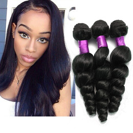 Discount 24 inch hair extensions black - 4Pcs Brazilian Virgin Hair Loose Wave Natural Black Peruvian Malaysian Brazilian Hair Weave Bundles Top Hair Extensions