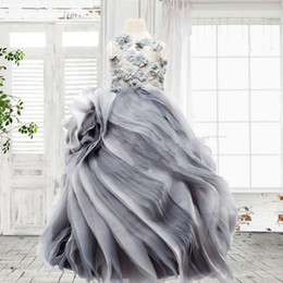 royal blue silver grey for wedding NZ - Real Photos 2018 Silver Grey Organza Princess Flower Girl Dresses For Wedding Pageant Gowns With Hand Made 3D Floral Applique EN11213