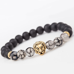 Mens gold lion head bracelet online shopping - 2 Style Mens Womens Black Matte Agate MM Beads Stretch Bracelet with Various Beads Alloy Gold Lion Head Support FBA Drop Shipping D230S