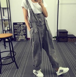 $enCountryForm.capitalKeyWord Canada - Free Shipping 2016 New Fashion Water Wash Stripe Cotton Denim Bib Pants Personality Women Plus Size Loose Jumpsuit And Rompers Hot Sale