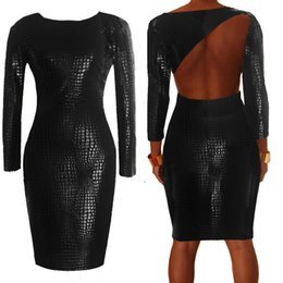 $enCountryForm.capitalKeyWord Canada - Sexy women dress plus size women clothing summer girl black bandage dress 2015 Snakeskin Faux Leather bodycon dresses