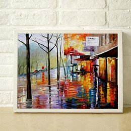 mural paintings oil Australia - Rainy Street 100% Hand Painted Oil Palette Knife Painting Thick High Quality Canvas Home Decor Mural JL226