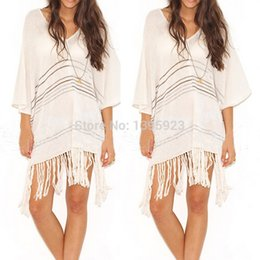 fdf8cee5b8 High Quality 2015 Elegant Womens Casual Half Sleeve Tassel Sexy Bikini Swimwear  Beach Tops Dress Solid Cover Up Hot