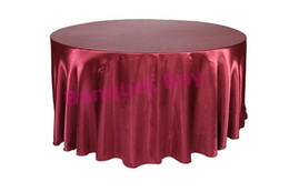 round table cloths wholesale UK - Burgundy Color Round Diameter Satin Table Cloth Free Shipping