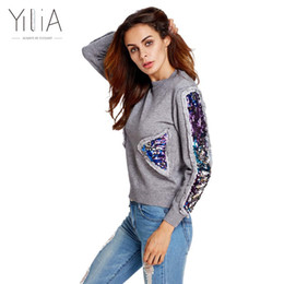 short sleeve cashmere jumper 2019 - Yilia 2017 Women Sequins Cashmere Sweater Women Knitted Pullover Streetwear Winter Sweaters Long Sleeve Loose Sweater To