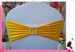 Feux De Chaise Carrée Pas Cher-Gros-Orange Couleur Jaune simple couche Bands Lycra / Chair Jupettes avec Square diamant BucklePin Pour Mariage Party Banquet Décoration