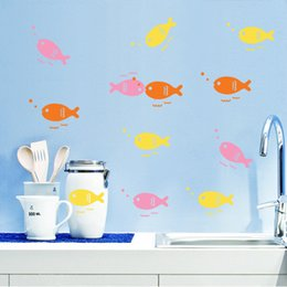 $enCountryForm.capitalKeyWord Canada - High Quality Wall Sticker Lovely Fish Muti-color Removable PVC Free Shipping 10 piece a lot 5*60cm