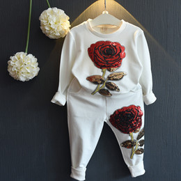 f6eff617c New Spring Autumn Girls Tracksuits Children Rose Flower Embroidered Casual  Sets Kids Sportswear Fashion Girl T-shirt+Pants 2pcs Suits Z11