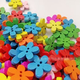 Tools Button Canada - Multicolor 100pcs 14x15mm 2 Holes Mixed Flower Wooden decorative Buttons Fit Sewing Scrapbooking Crafts TT77