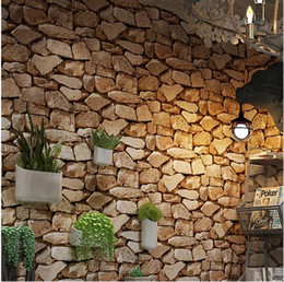 Papel de parede do vintage Papel De Parede De Vinil Rolo Bar Bar Restaurante Coffee Shop Quarto Sala de Pano de Fundo Rústico 3D Pedra Wallpapers