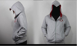Assassin Creed Veste Coton Pas Cher-Le plus récent Hoodie Assassin's Creed Sweatshirt à capuche blanc Anime Cosplay Hoodies Zipper Hoodies en coton pour homme Costume