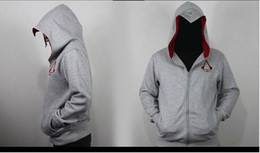 sweatshirt hoodie assassin's creed NZ - Newest Assassin's Creed Jacket White Hooded Sweatshirt Anime Cosplay Hoodies Zipper Cotton Hoodies for man Costume