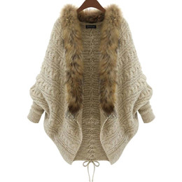 Wholesale 2018 Winter New Cardigan Poncho Fur Collar Outerwear Women Sweater Knitted Brand Casual Knitwear Jacket XL15100702