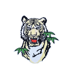 Chinese  1 PCS Bite Leaves Tiger Embroidery Patches for Clothing Bags DIY Iron on Transfer Applique Patch for Garment Jackets Sew on Embroidery Badge manufacturers